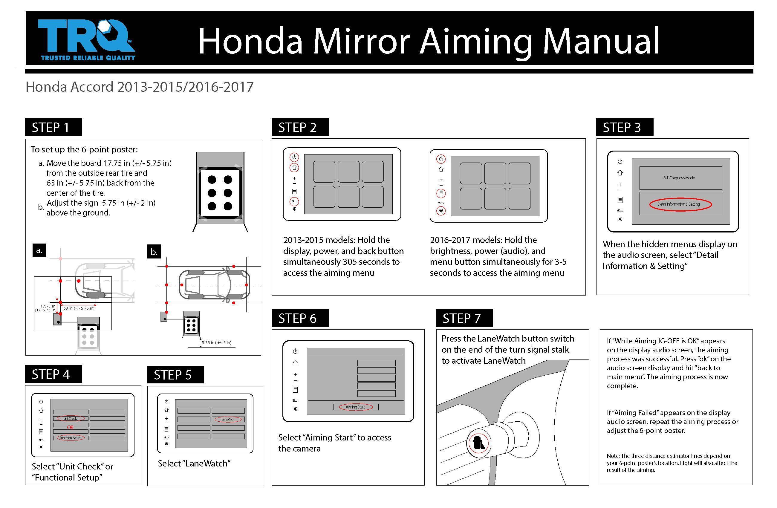 Honda mirror aiming manual for 2013-2015 and 2016-2017 Honda Accord from TRQ.