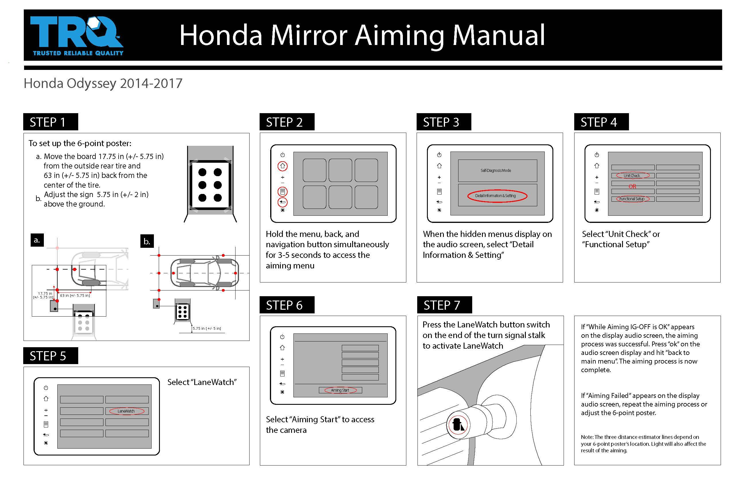 Honda mirror aiming manual for 2014-2017 Honda Odyssey from TRQ.