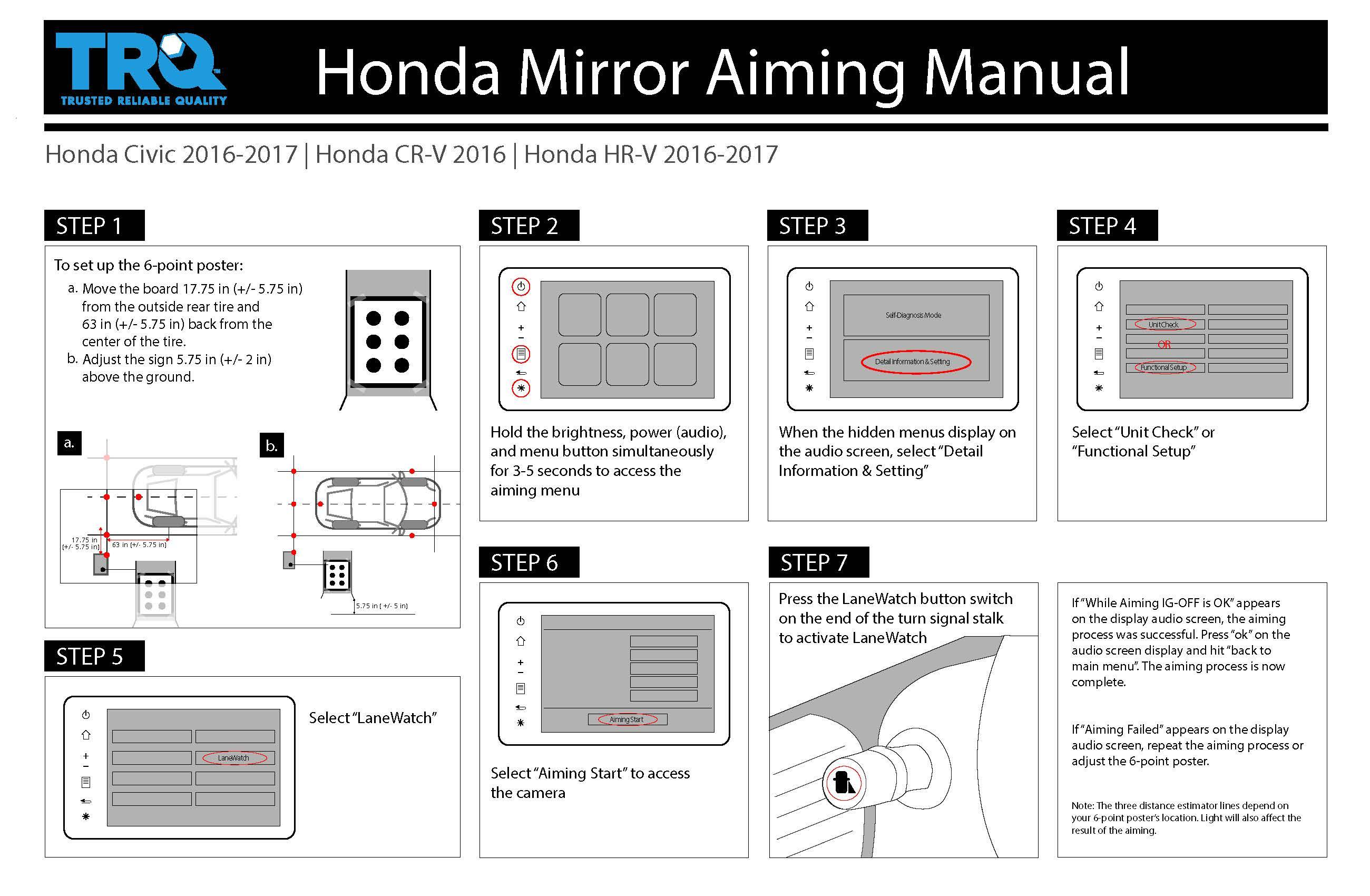 Honda mirror aiming manual for 2016-2017 Honda Civic, 2016 Honda CR-V, and 2016-2017 Honda HR-V from TRQ.