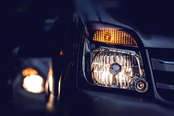 low beam headlights on a vehicle